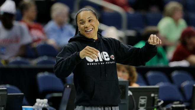 South Carolina head coach Dawn Staley watches during a practice session for the NCAA Final Four tournament women's college basketball semifinal game, Saturday, April 4, 2015, in Tampa, Fla. South Carolina plays Notre Dame Saturday in a semifinal game. (AP Photo/Chris O'Meara)