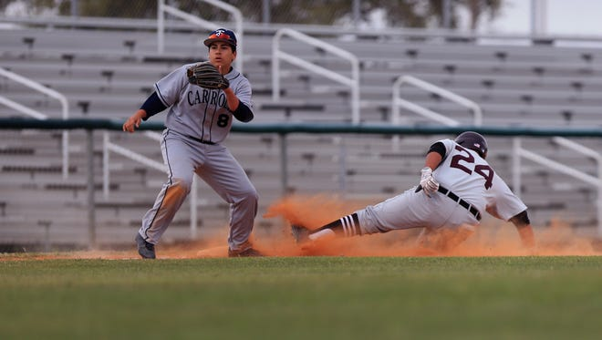 Sinton's Dustin Gallegos steals third while Carroll's Ramsey Villarreal waits for the ball in the fourth inning of the Mira's South Texas Classic baseball tournament at Cabaniss on Friday, March 3, 2017.