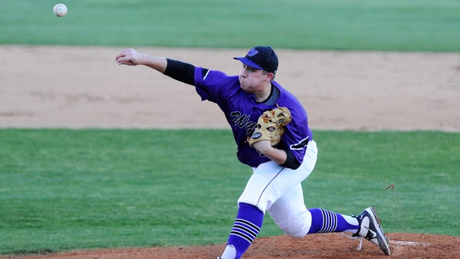 Wylie pitcher Blake Smith (45) throws a pitch during the Bulldogs' 1-0 loss to Graham in Game 1 of the Region I-4A bi-district playoffs in Graham. The series continues Saturday at 1 p.m. at Wylie.