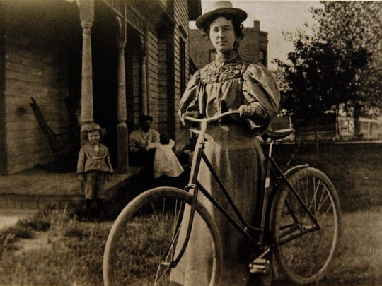 Josephine Trigg rode a bicycle to her job as children's librarian for Great falls in this undated photo. Trigg was the force behind establishing by russell Museum. Photo courtesy of the Cascade County Historical Society