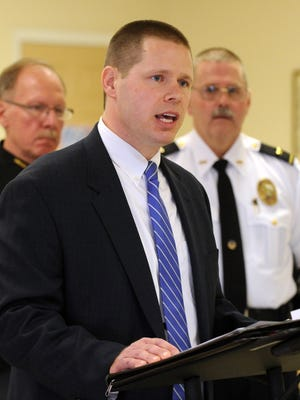 Kyle Witt, Assistant Lancaster Prosecutor, speaks during a press conference Friday, Feb. 19, 2016, at which many Fairfield County law enforcement leaders endorsed Witt's campaign for county prosecutor.