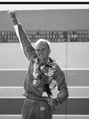 Rowdy Gaines celebrates his Gold medal finish at the 1984 Summer Olympics in Los Angeles.