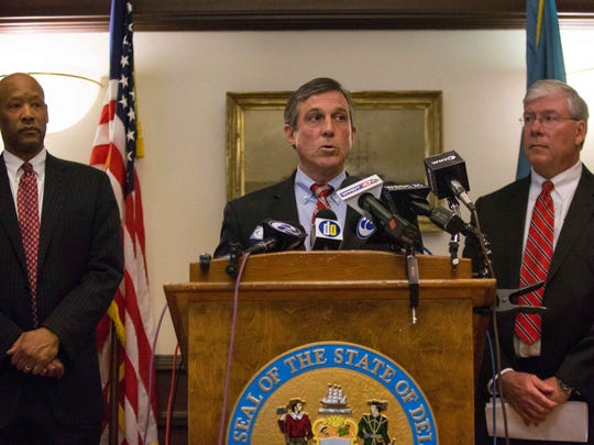 Gov. John Carney calls for an independent review into the circumstances that led up to the James T. Vaughn Correctional Center hostage situation during a press conference at the Carvel Building in Wilmington Tuesday.