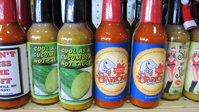 A sample of the nearly 3,000 different sauces from Peppers on Coastal Highway near Lewes.