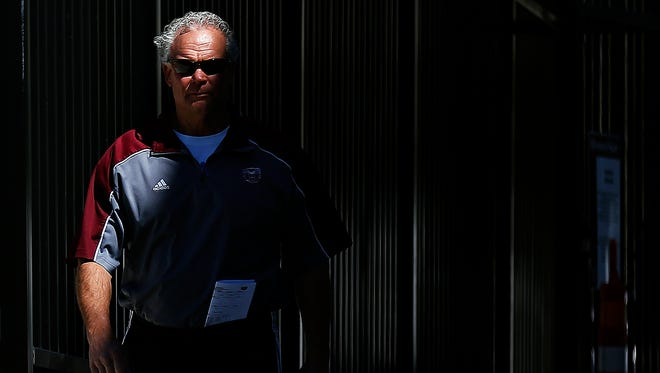 Missouri State Bears head coach Dave Steckel walks into the stadium prior to the start of the Missouri State Bears' first spring scrimmage held at Robert W. Plaster Stadium in Springfield, Mo. on April 7, 2017.