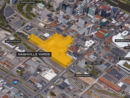 The site of the Nashville Yards development project