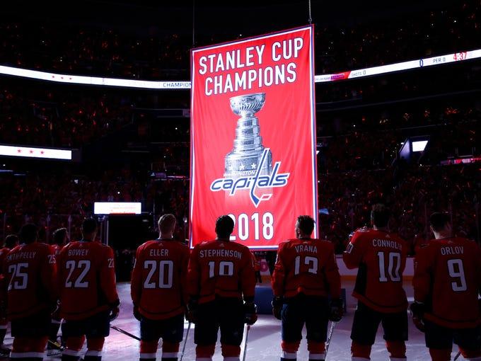 eaa5efec56b Washington Capitals players watch as the 2018 Stanley
