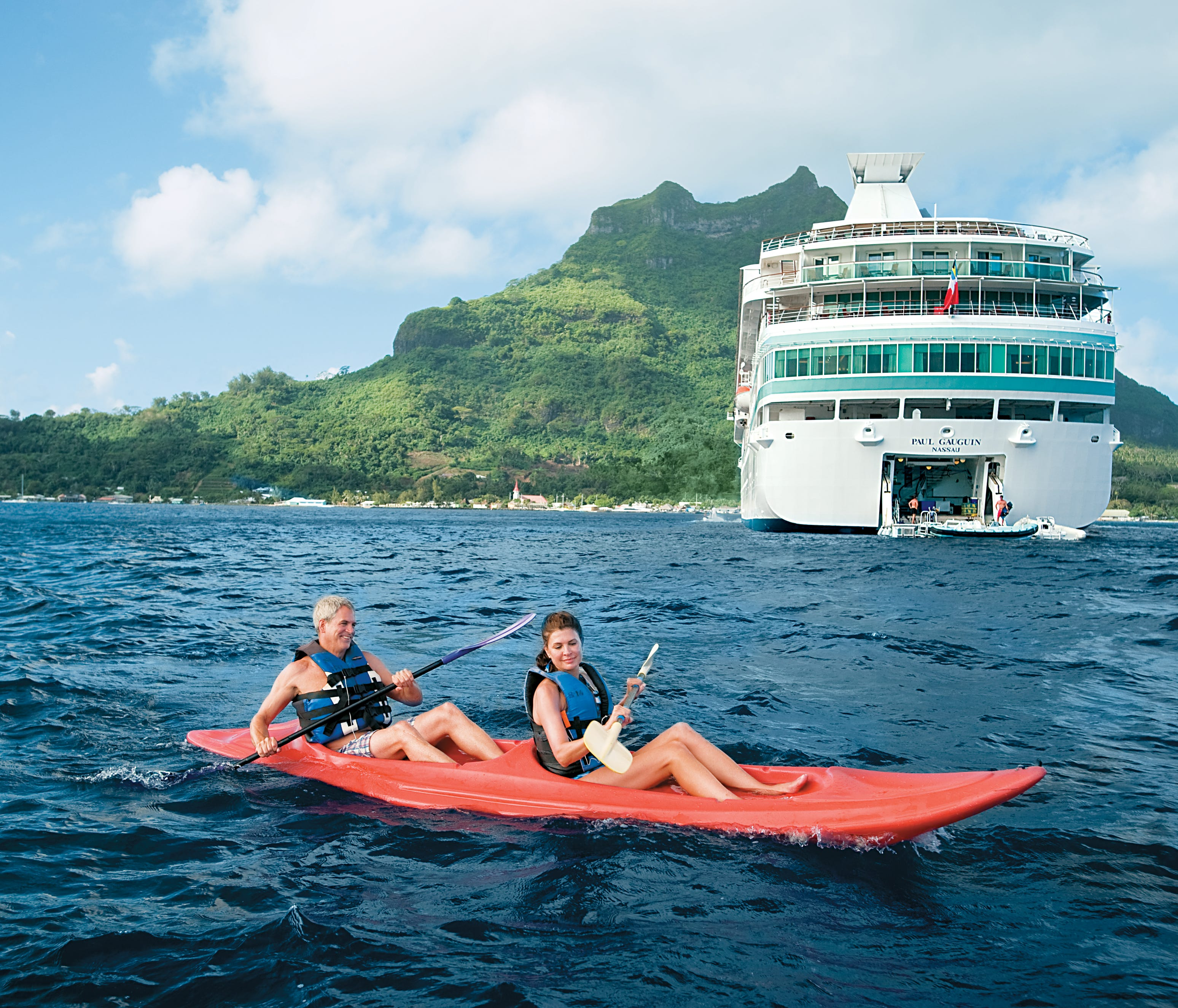 Cruise on such lines as Paul Gauguin Cruises or Windstar Cruises. Take advantage of Paul Gauguin's onboard watersports marina for kayaking and windsurfing.