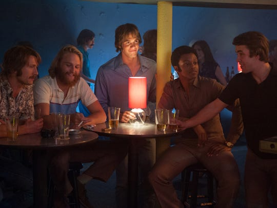 "The cast of ""Everybody Wants Some!!"" includes, from left, Glen Powell as Finnegan, Wyatt Russell as Willoughby, Blake Jenner as Jake, James Quinton Johnson as Dale Douglas and Temple Baker as Plummer."