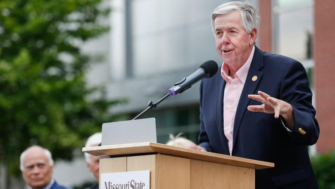 Mike Parson, lieutenant governor of Missouri, speaks during the 10-year celebration of the Roy Blunt Jordan Valley Innovation Center on Wednesday, May 31, 2017.
