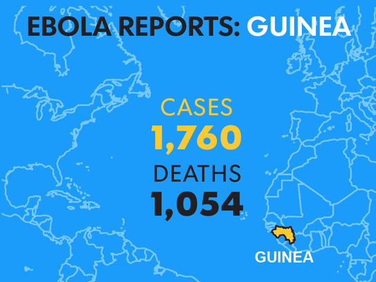 Countries with Ebola outbreaks
