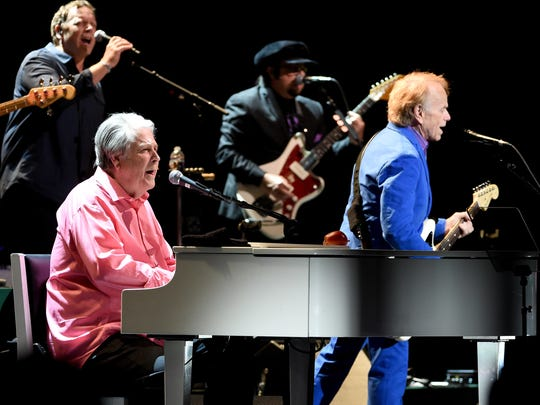 Brian Wilson (left) and Al Jardine perform Pet Sounds at the Pantages Theatre on May 26, 2017, in Los Angeles, California.