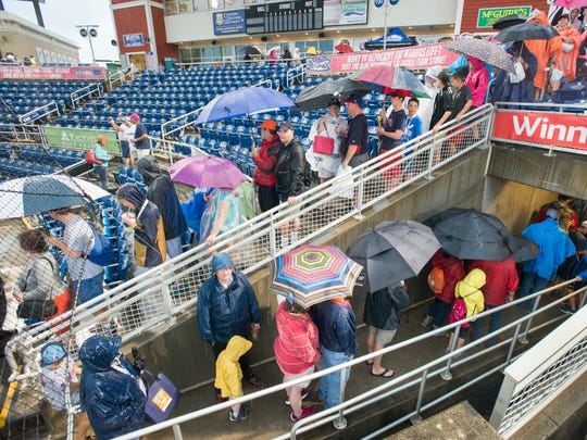 Although the 2017 Southern League All Star Game got rained out, fans wait in a long line to get player autographs at Blue Wahoos Stadium in Pensacola, Florida on Tuesday, June 20, 2017.