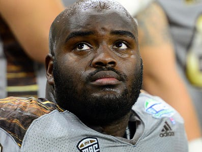Western Michigan Broncos Offensive Lineman Taylor Moton (72) looks on during the MAC Championship game between the Ohio Bobcats and the Western Michigan Broncos on December 2, 2016, at Ford Field in Detroit, Michigan.