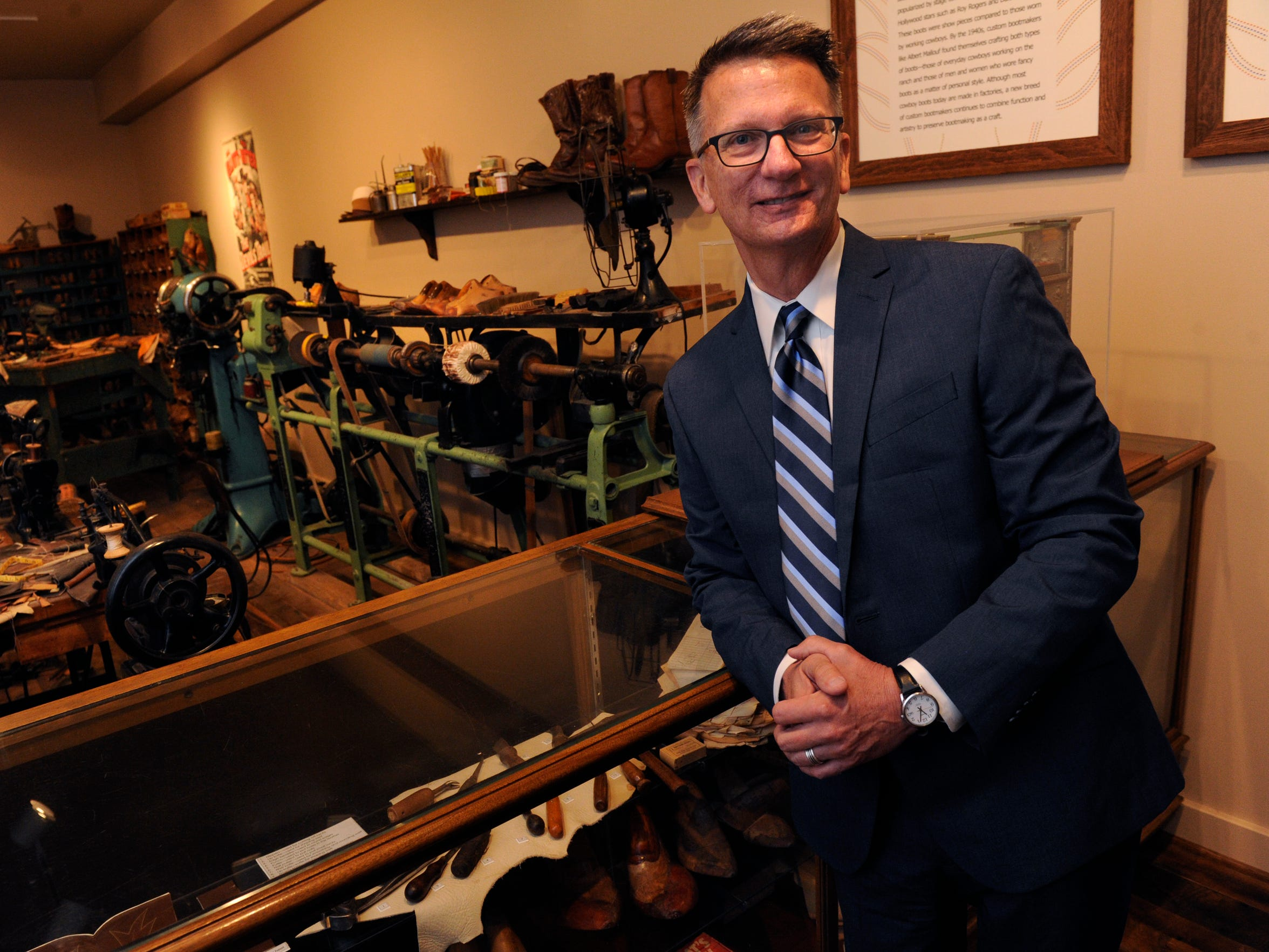 Bob Nutt at the boot shop in The Grace Museum Aug. 1, 2017. Nutt has been involved with the museum and its predecessor since 1984.
