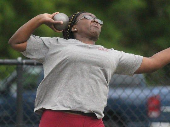 Florida High's Antonia Thomas throws shot put at the