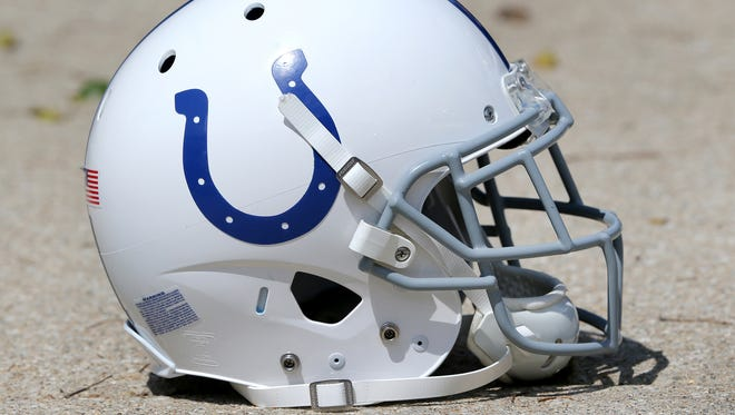 Indianapolis Colts football helmet after practice at the Colts facility on Monday, August 25, 2014.