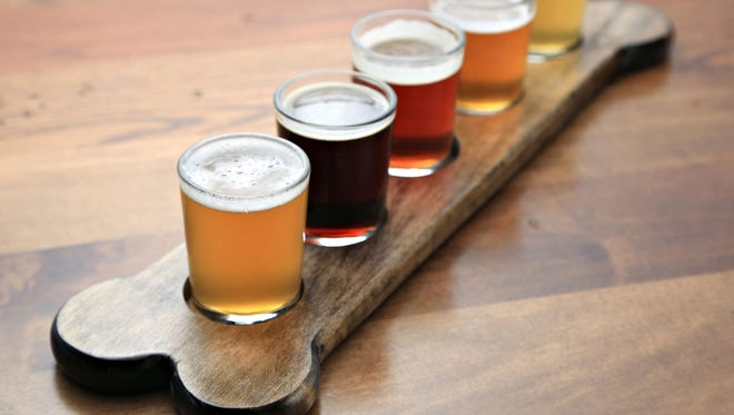 A beer flight  from Uncle Bear's Brewhouse Grill in Ahwatukee.
