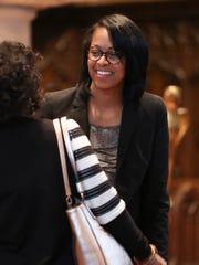 LaKresha Roberts speaks after a forum of candidates