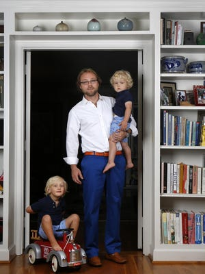 Kyle Olson is seen with his sons Espen, left, age 4 and Arne, age 2. Olson is the subject of a Stylemaker column. June 1, 2015.