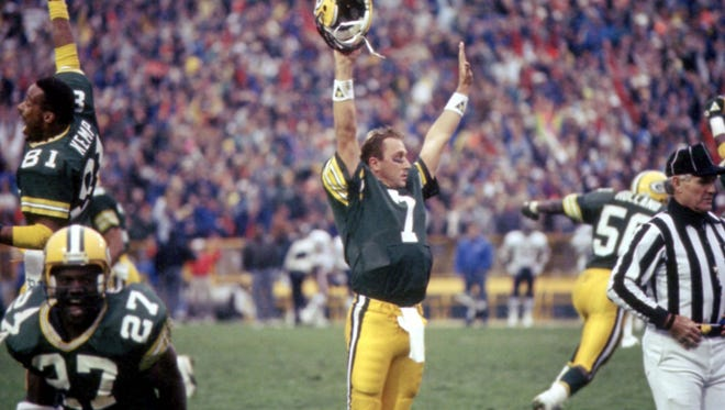 Press-Gazette Media archives Green Bay Packers quarterback Don Majkowski (7) celebrates the instant-replay call confirming his game-winning touchdown on Nov. 5, 1989. Green Bay Packers quarterback Don Majkowski (7) celebrates the instant-replay call confirming his game-winning touchdown pass to Sterling Sharpe against the Chicago Bears at Lambeau Field on Nov. 5, 1989. The Packers won 14-13. Also celebrating are, from left, receiver Perry Kemp (81), running back Herman Fontenot (27) and linebacker Johnny Holland (50).