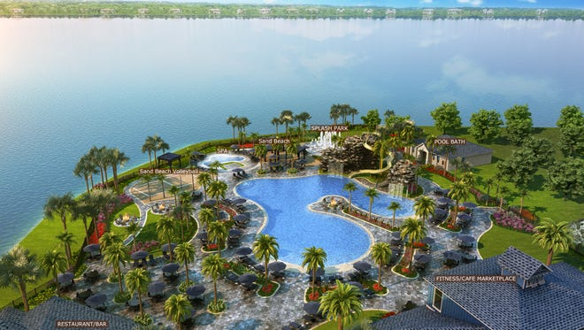 This rendering shows what the resort-style pool and amenities will look like at The Place at Corkscrew.