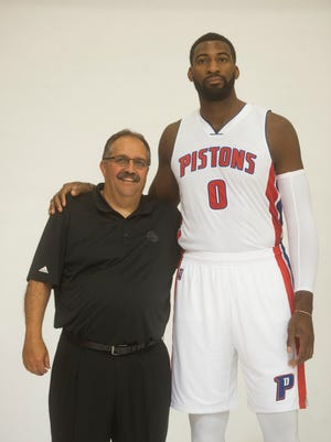 The Pistons' Andre Drummond poses with coach Stan Van Gundy during media day at the Pistons' practice facility in Auburn Hills on Monday.