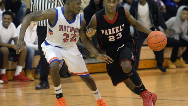 Terrace Marshall drives past Shakelvin Calhoun in Parkway's win at Southwood Tuesday night.