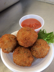 Chompers serves fried balls of bacon cheeseburgers