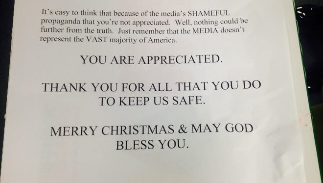 Note from man who donated 50 dozen donuts to Lee County deputies