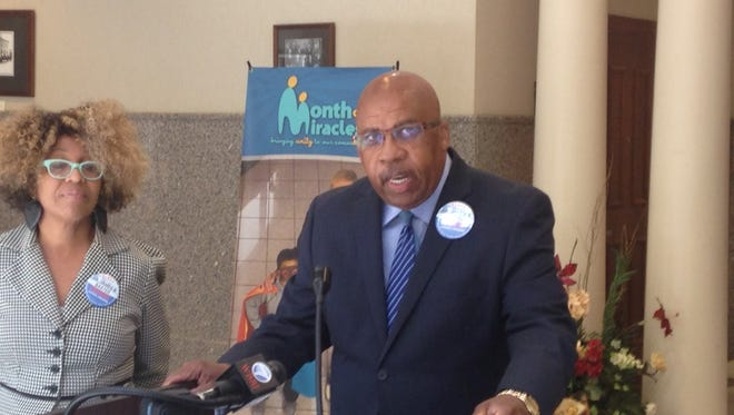 Mayoral candidate James Baxter at his press conference Wednesday afternoon.