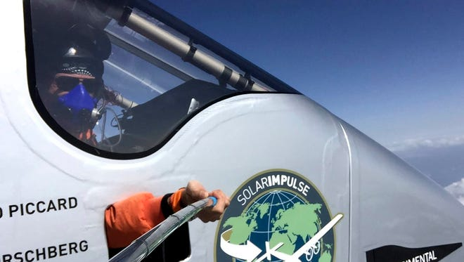Solar Impulse pilot Bertrand Piccard taking a 'selfie' on his flight over Southern China during the 'Solar Imulse2' flight around the World. The picture was taken on the leg from Chongchin to Nanjing. Solar Impulse 2 landed in Nanjing, China, late on April 21. The fuel-free aircraft will stay in Nanjing for about ten days before setting off for a Pacific crossing, the most perilous legs in its global journey.