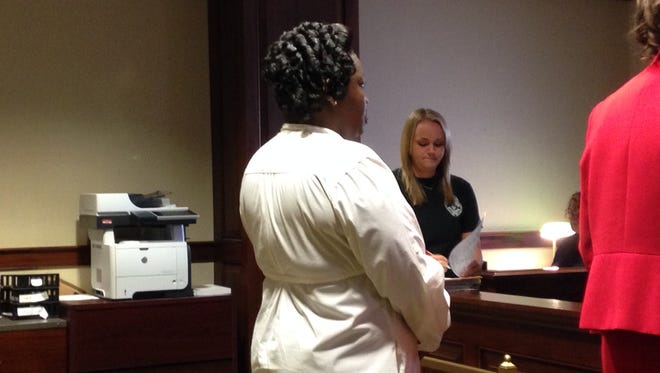 Andriel Mathis at her sentencing Wednesday in Hamilton County Common Pleas Court before Judge Leslie Ghiz.