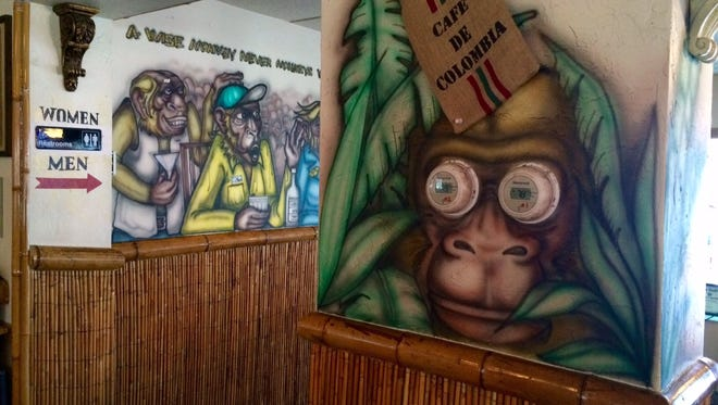 Yep, that's a monkey with A/C dials for eyes at Monkey Bar and Steakhouse in Cape Coral.