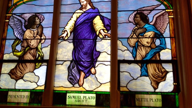 A stained glass window at Broadway Temple A.M.E. Zion Church gives credit to architect Samuel Plato, who designed the church.