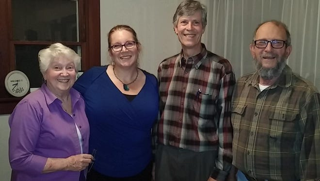 Santiam Canyon Community Chorus/Santiam Hearts to Arts board members, left to right, Jo Ann Hebing, SCCC Founding Director; Sheila Hoover, Santiam Hearts to Arts President; Mark Lindsey,  SCCC Director; Herb Bastuscheck, SCCC Council President.