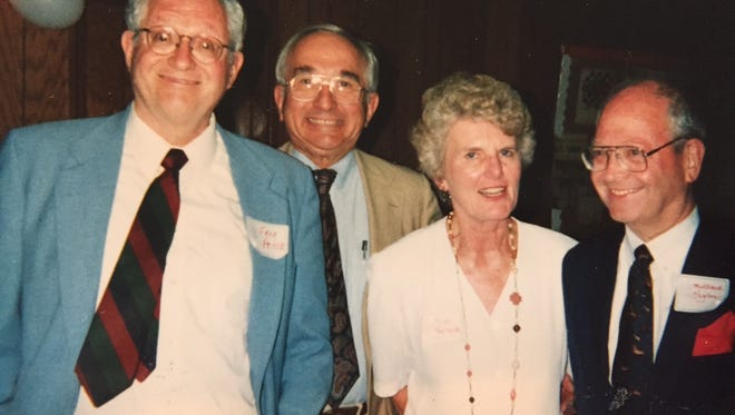 Frederic Pryor, left, pictured with 1951 Mansfield Senior High classmates John Fernyak, John's wife, Mimi Fernyak, and Pryor's late twin brother, Millard Pryor Jr., at a 2001 class reunion.