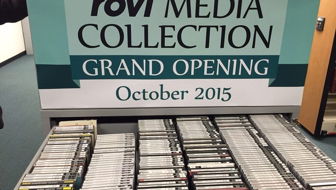 A drawer of CDs on display as part of the debut of the Rovi Media Collection at MSU's Main Library Monday, Oct. 19, 2015.