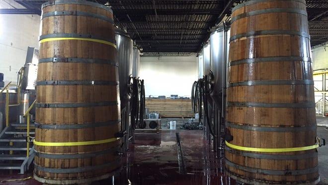 Tanks inside Bearded Iris Brewery's Germantown taproom, located at 101 Van Buren St.