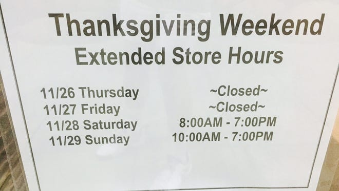 The REI store in Tempe indicated that it plans longer than normal hours but will stay closed for Thanksgiving and Black Friday.