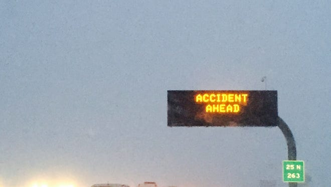 A sign on the I-25 near the Harmony exit early Tuesday morning. While the county is not on accident alert, be careful when driving. Because of the hazardous conditions, high schools and high school sports are shut down for the day.
