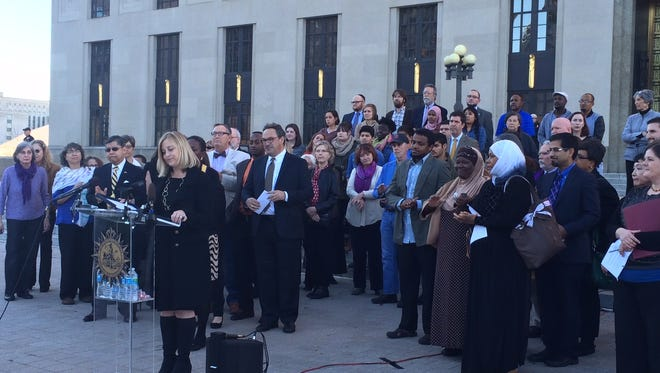 Nashville Mayor Megan Barry speaks at an  event organized by the Metro Human Relations Commission to issue a statement of solidarity to Nashville Muslims on Dec. 15, 2015.