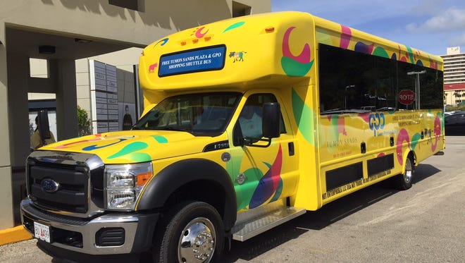 A new free shuttle bus between Guam Premier Outlets and Tumon Sands Plaza prepares to leave Tumon Sands Wednesday afternoon. The shuttle, which runs every 15 minutes, also stops at the Pacific Islands Club.