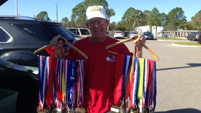 Mike Welter has won numerous medals from playing pickleball around the country.