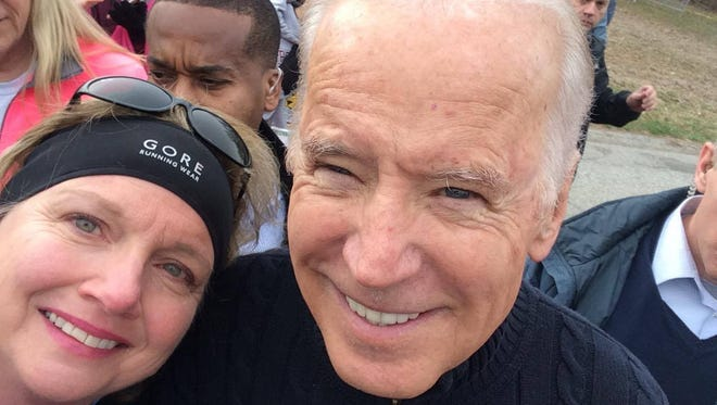 Cindy Glazier snapped this selfie with Vice President Joe Biden during Saturday's Beau Biden Memorial Trail Run at Granogue.