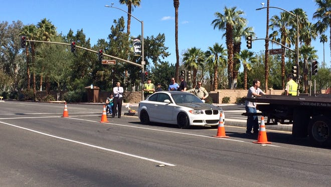 A car used in a 2013 street racing crash is being used in an investigation that closed lanes of Highway 111 in Rancho Mirage Thursday.