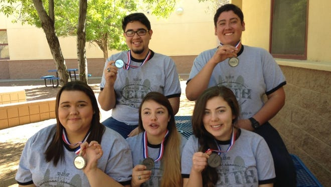 The award-winning culinary arts team at Deming High School includes, in back from left, Isaiah Prieto and A.J. Sera. In front, from left, are: Jasmine Sheridan, Olivia Holguin and Dominique Jacobo.