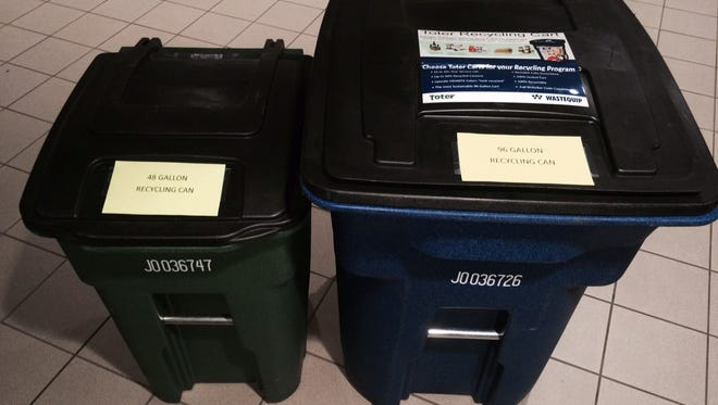The new garbage carts will resemble the 96-gallon and 48-gallon recycling carts used by the city.