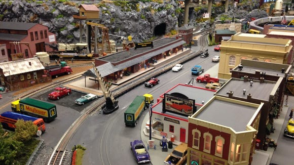 The long building, center, is a model of Red Lion's Ma & Pa Railroad station. It's part of a major model train layout in the restore station, operated by the Red Lion Area Historical Society.