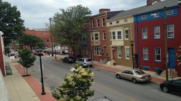 This is the view down North Beaver Street, past the